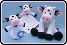 Knit Cow, Blankie & Rattle/Bottle Buddy pattern by Lorraine Pistorio