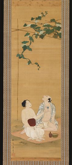 Enjoying the Evening Cool under a Gourd Trellis Utagawa Toyohiro (Japanese, 1763–1828) Period: Edo period (1615–1868) Date: early 19th century Culture: Japan Medium: Hanging scroll; ink and color on paper Dimensions: Image: 33 1/4 x 11 in. (84.5 x 27.9 cm) Overall with knobs: 65 1/8 x 16 1/2 in. (165.4 x 41.9 cm) Classification: Painting