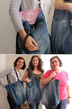 Velho par de jeans = Nova sacola                                                                                                                                                                                 Mais