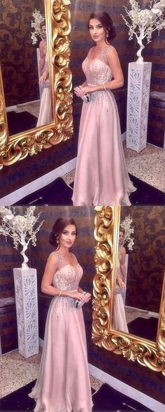UPD0236, Sparkly Beading Prom Dress, V neck A Line Prom Dress, Sleeveless Long Formal Party Dress 2018