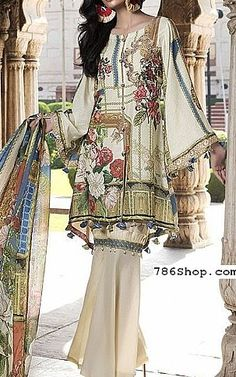 Off-white Karandi Suit Pakistani Lawn Suits, Pakistani Outfits, Salwar Designs, Design Seeds, Winter Dresses, Dresses Online, Embroidery Designs, Layouts, Kimono Top