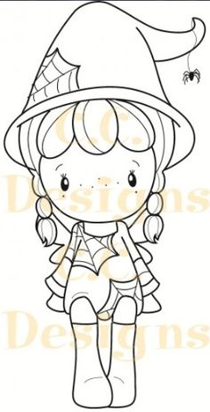 C.C. Designs - Cling Mounted Rubber Stamp - Swiss Pixie Halloween Birgitta,$6.99
