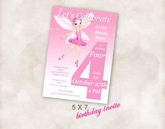 5X7 4th Birthday party invite Invitation printable by Mazoria