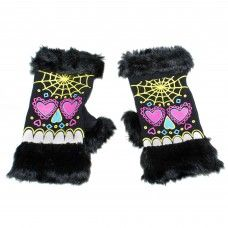 Sugar Skull Fur Fingerless Gloves: Fuck That Girly Shit Knitted Gloves, Fingerless Gloves, Punk Subculture, Witchy Outfit, Punk Outfits, Gothic Accessories, Punk Goth, Unique Outfits, Online Clothing Stores