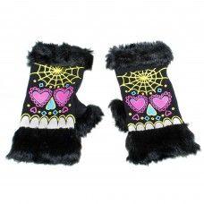Sugar Skull Fur Fingerless Gloves: Fuck That Girly Shit Knitted Gloves, Fingerless Gloves, Witchy Outfit, Goth Accessories, Tattoo Shirts, Punk Outfits, Punk Goth, Alternative Outfits, Fur Trim