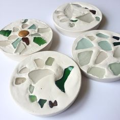 Sea glass and plaster of paris coasters!