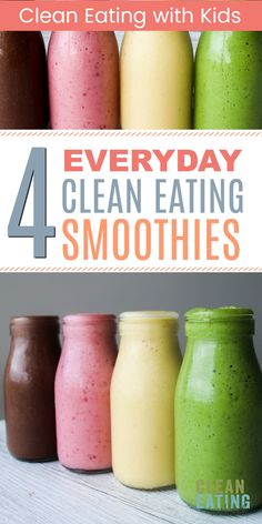 4 smoothies every mom should make cleaneatingwithkids cleaneatingsmoothies smoothiesforkids clean eating recipes for weight loss! 50 healthy recipes for every meal of the day Clean Eating Grocery List, Clean Eating Meal Plan, Clean Eating Recipes, Clean Eating Snacks, Diet Recipes, Eating Healthy, Kid Smoothie Recipes, Clean Lunches, Kid Lunches