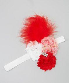 Red Feather Shabby Flower Headband