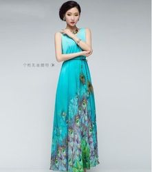 c84a101caf66 Online Shop 2014 New Women Ladies Summer Elegant BoHO Lotus Leaf Big Hem  Chiffon Maxi Flowers Dress Print Long Dress loose full length dress