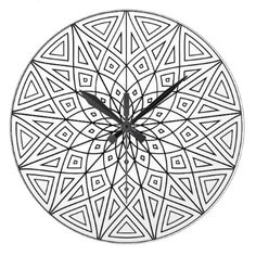 Twelve Point Mandala Large Clock