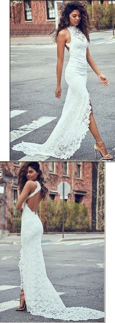 Charming Lace Halter Neckline Sheath Wedding Dresses With Slit #laceweddingdresses