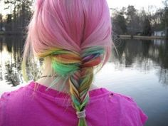 Pastel rainbow braid hair