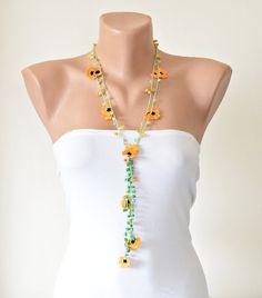 Orange Crochet Lariat Necklace Oya Orange Flowers от ReddApple