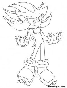 Free Printable Sonic the Hedgehog Shadow Coloring in sheets