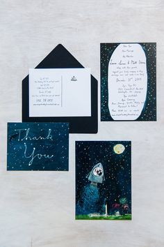 Set of 25 The Stars and the Moon wedding stationery // illustrated, hand lettered invitation and Thank You // Starry Night