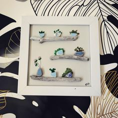 """Michaela on Instagram: """"Plant Sea Glass Art - Hope everyone is having a wonderful weekend! This piece just sold and is ready for shipment. 💌 Whether you are just…"""" Natural Crafts, Sea Glass Art, Floating Shelves, Frame, Plants, Instagram, Home Decor, Picture Frame, Decoration Home"""