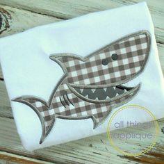 Tiburón  puntada apliques diseño 764  4 tamaños