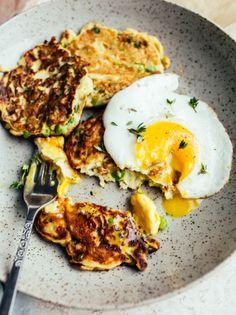 potato pea and leek pancakes