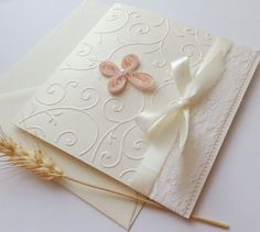 Handmade girl Christening invitation/Unique Baptism invitation/White lace invitation/Cross christening invitation/First Communion invitation Christening Invitations Girl, Girl Christening, Baptism Cards, Elegant Girl, Elegant Invitations, First Communion, Quilling, Card Making, Gift Wrapping