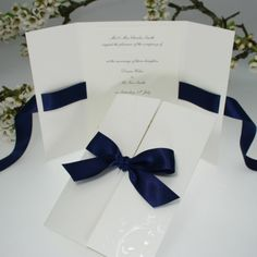 Verona Navy Blue Wedding Invitations