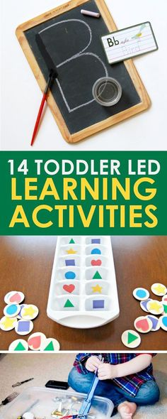 These 14 learning activities for toddlers will hold their attention while teaching them shapes, colors, the alphabet and more! A wonderful list of toddler activities that are both fun and educational! Toddler Learning Activities, Games For Toddlers, Infant Activities, Fun Learning, Preschool Activities, Teaching Kids, Educational Activities, Summer Activities, Kid Activites