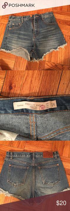 "Zara high waisted denim ""bootie"" shorts Zara cutoff jean shorts - high waisted size 02 (eur 34)- fit like a standard size 0 /24 Zara Shorts Jean Shorts"