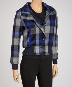 Take a look at this Navy & Blue Plaid Wool-Blend Hooded Jacket on zulily today!