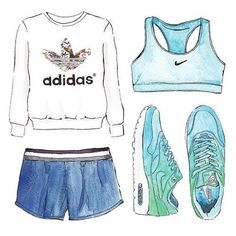 New Sport Style Chic Adidas Ideas Sport Fashion, Fashion Art, Fashion Outfits, Style Fashion, Fashion Design Drawings, Fashion Sketches, Nike Outfits, Sport Outfits, T Shirt Pink