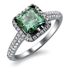 Green Princess Cut Diamond Engagement Ring -  1.82 carat Green Princess Cut Diamond Engagement ring set in 18k White Gold.