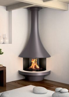 Corner wood design fireplace EVA 992 with open hearth Suspended Fireplace, Freestanding Fireplace, Open Fireplace, Fireplace Wall, Fireplace Design, Corner Fireplaces, Fireplace Modern, Wood Burning Stove Corner, Modern Stoves