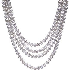 HinsonGayle Handpicked White Baroque Cultured Pearl 82-inch Rope Necklace Large lustrous and beautiful. These chunky 100% nacre circle baroque freshwater cultured pearls are just perfect. As an endless strand these intensely lustrous handpicked pearls can be draped to create a myriad of stunning looks. Pearls are handpicked for their natural luster and hints of surface orient the rarest of all pearl characteristics. A gorgeous HinsonGayle DIVA Collection design. Looks amazing alone or…