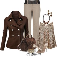 """SnazZZ up a plain brown jacket"" by estef-steph on Polyvore"