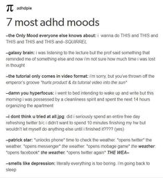 lol i dont got adhd(just symptoms—im not diagnosed) but this is relatable Adhd Brain, My Brain, Writing Tips, Writing Prompts, Journal Prompts, Adhd And Autism, Adult Adhd, Mental Disorders, Stress Disorders