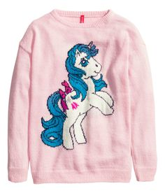 How magical is this pink long-sleeve sweater with intarsia-knit unicorn? | H&M Pastels