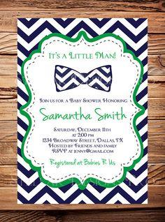 Little Man Baby shower Invitation Bow Tie by StellarDesignsPro