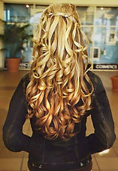 all curls half up highlights long layers hair cut