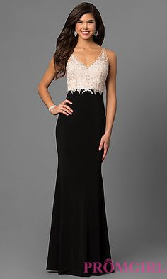 6adf5bc5842 V-Neck Prom Dress by Nina Canacci with Open Back