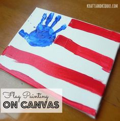 Handprint Flag Painting on Canvas