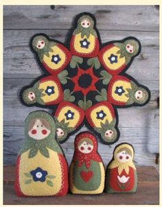 BabushkaWool Applique Candle Mat & Dolls