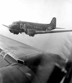 The plane that my pappap flew in, in WWII. C-47's 71st Troop Carrier Squadron Daytime Supply Mission Northern France 1944