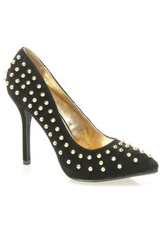 Sensuous-19 Studded Pointy Toe Pump In Black