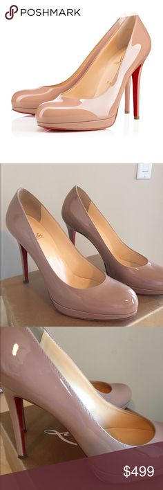 Christian Louboutin New Simple 120 Nude pumps Christian  Louboutin New Simple 120 Nude pump.  Size 39.  In great condition and includes original box, dust bag.  Please note left shoe heel mark.  Can be easily fixed at shoe repair shop. Christian Louboutin Shoes Heels