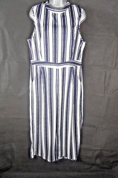 c77bd62a773c Blue and White Striped Nautical Jumpsuit Size 16 Plus Size 3 4 Length  Pockets