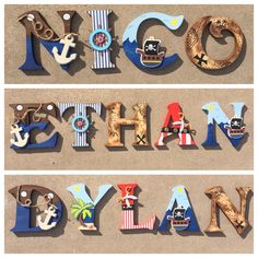 A personal favorite from my Etsy shop https://www.etsy.com/listing/266405907/pirate-wooden-letters-pirate-letters