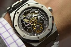 Awesome does not begin to describe this. The Audemars Piguet Open-worked Extra-Thin Royal Oak Tourbillon.    http://mywat.ch/extrathin