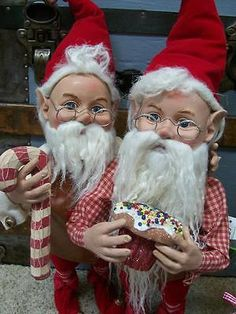 Figurines 117413: Set 2 Nwt 20 Santas Elves Elf Candy Cane Stripe Christmas Figurine Doll Prop -> BUY IT NOW ONLY: $179.95 on eBay!