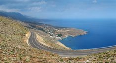 Sfakia, Crete, Greece. On the winding east-west road between Hora Sfakion (visible down the coast) and Aradaina.