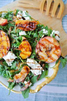 {burrata + grilled peach arugula salad with balsamic glaze} perfect summer salad!