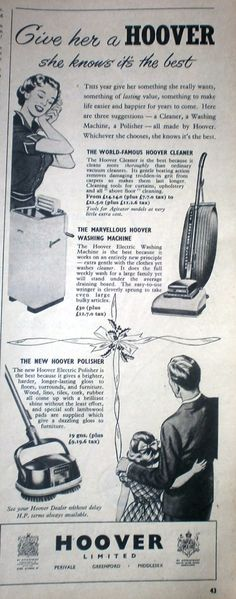 'A Hoover for Christmas' advert. Woman's Own 1952 Retro Ads, Vintage Advertisements, Vintage Ads, Christmas Eve Box, Vintage Christmas, Merry Christmas, Christmas Adverts, Christmas Images, Visual Advertising