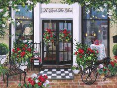 """A Spot for Tea"" Susan Rios Keepsakes 8 x 10 | Roses And Teacups"